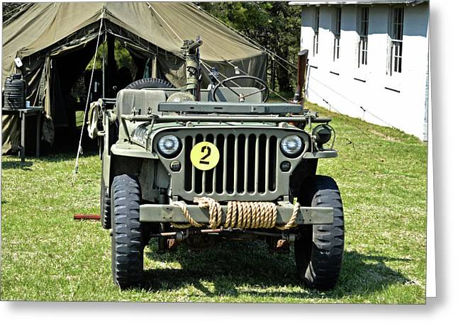 Greeting Card featuring the photograph Willys Jeep With Machine Gun At Fort Miles by Bill Swartwout Fine Art Photography