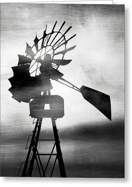 Windmill In The Wind- Art By Linda Woods Greeting Card