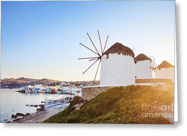 Windmills Of Mykonos, Famous Landmark Greeting Card