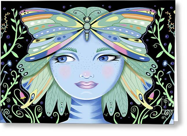 Insect Girl, Winga - Black Greeting Card
