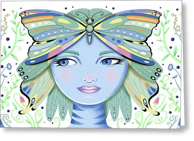 Insect Girl, Winga - White Greeting Card