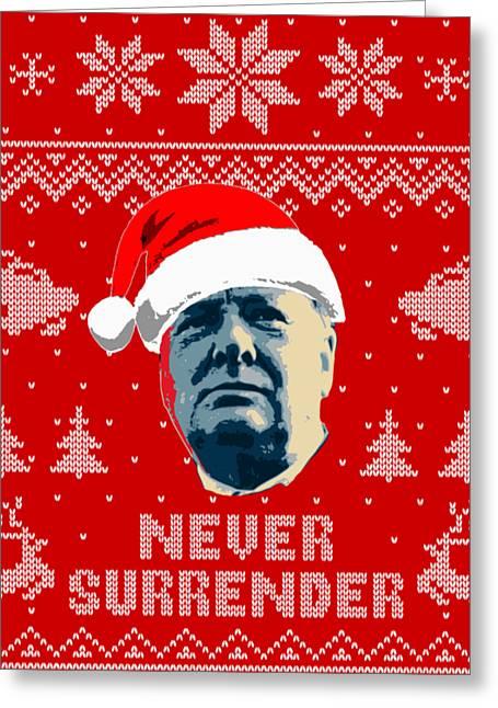 Winston Churchill Never Surrender Christmas Greeting Card