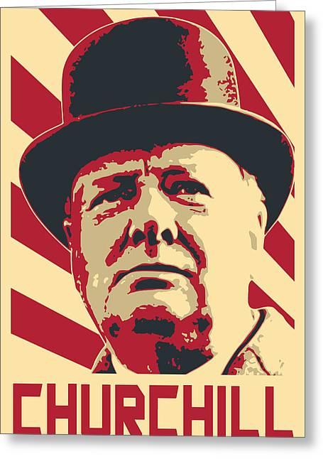 Winston Churchill Propaganda Pop Art Greeting Card