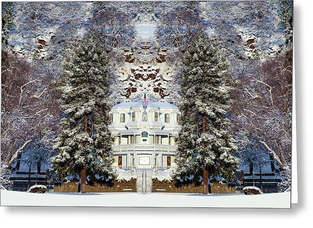Greeting Card featuring the digital art Winter At The Susanville Elks Lodge by The Couso Collection