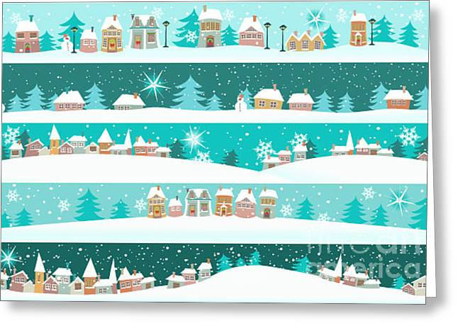 Winter Banners With Cartoon Houses Greeting Card