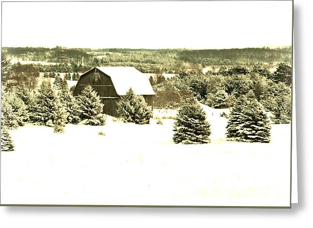 Greeting Card featuring the photograph Winter Barn by SimplyCMB