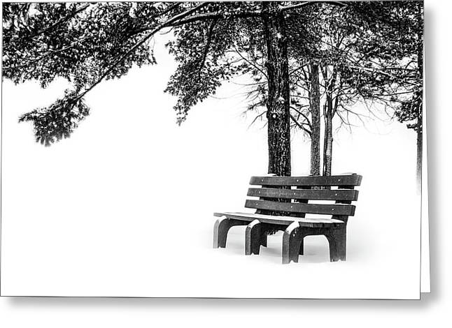 Greeting Card featuring the photograph Winter Bench  by Michael Arend