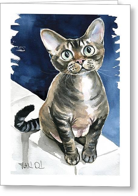 Winter Devon Rex Cat Painting Greeting Card