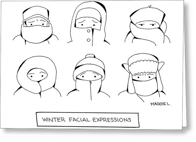 Winter Facial Expressions Greeting Card