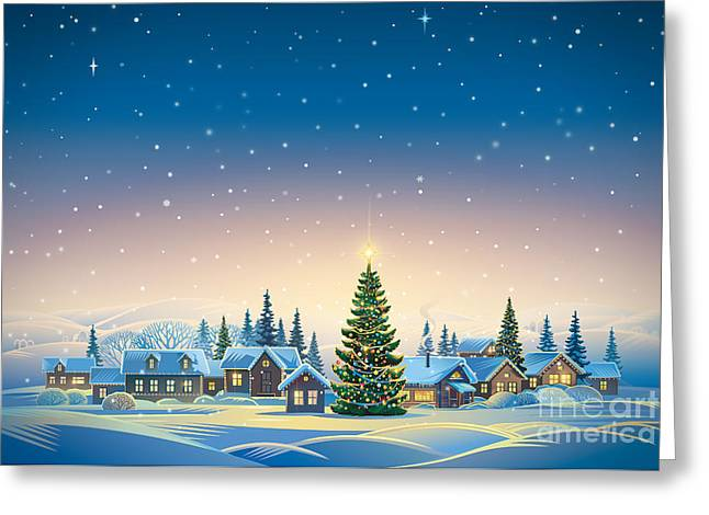 Winter Festive Landscape With Village Greeting Card