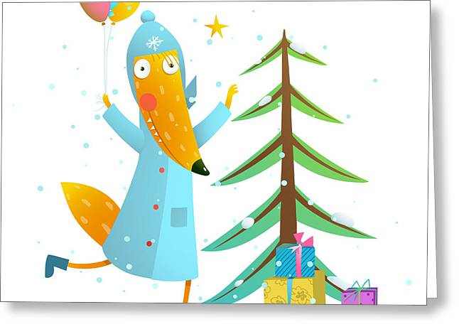 Winter Holiday Fox Celebrating With Greeting Card