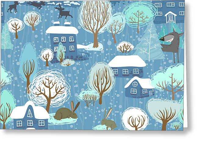 Winter Landscape Seamless Pattern Greeting Card