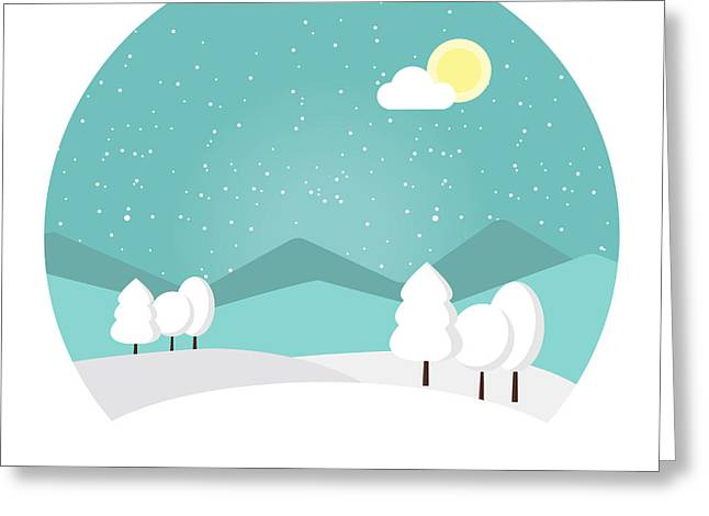 Winter Landscape. Snowy Mountain Greeting Card