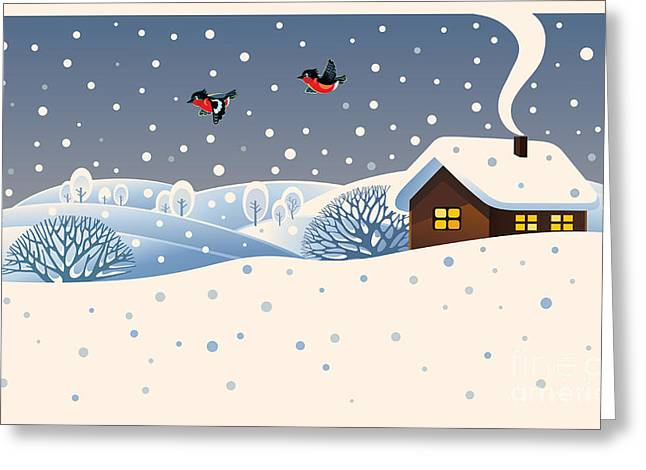 Winter Landscape With Country House And Greeting Card
