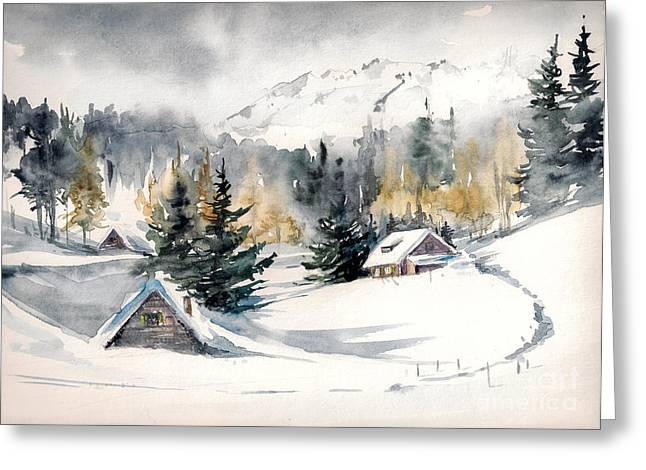 Winter Landscape With Mountain Village Greeting Card