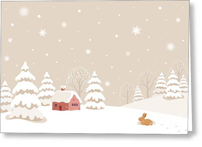 Winter Landscape With Rabbit Greeting Card