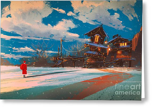 Winter Landscape With Wooden House At Greeting Card