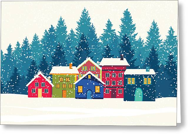 Winter Mountain Houses. Winter Landscape Greeting Card