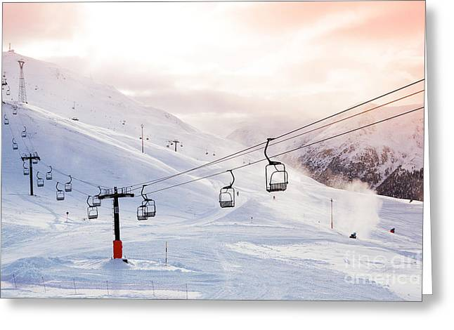Winter Mountains Panorama With Ski Greeting Card