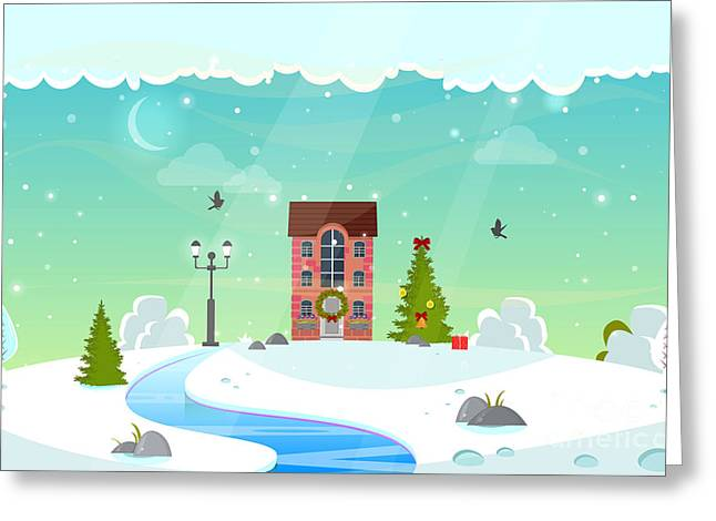 Winter Nature Landscape With River Greeting Card