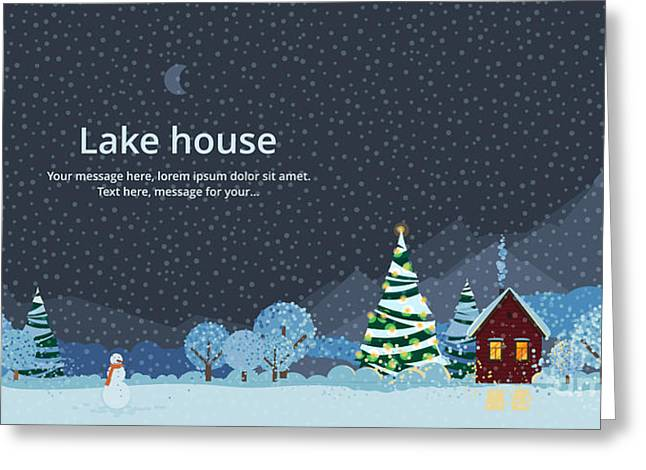 Winter Night, House In The Mountains Greeting Card