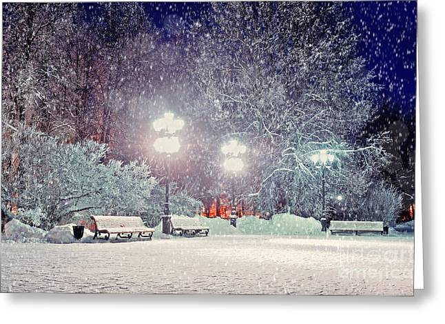 Winter Night Landscape -  Evening In Greeting Card by Marina Zezelina
