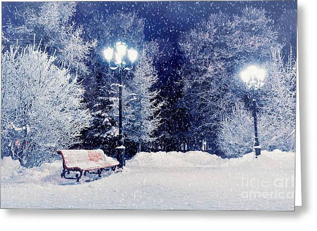 Winter Night Landscape Scene Of Snow Greeting Card
