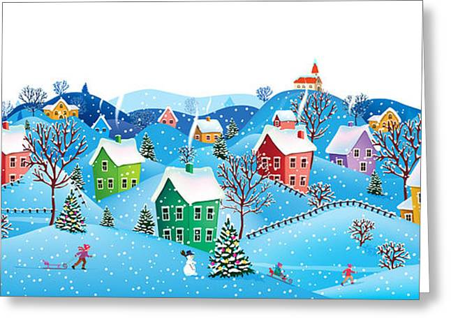 Winter Rural Landscape To A Happy Greeting Card