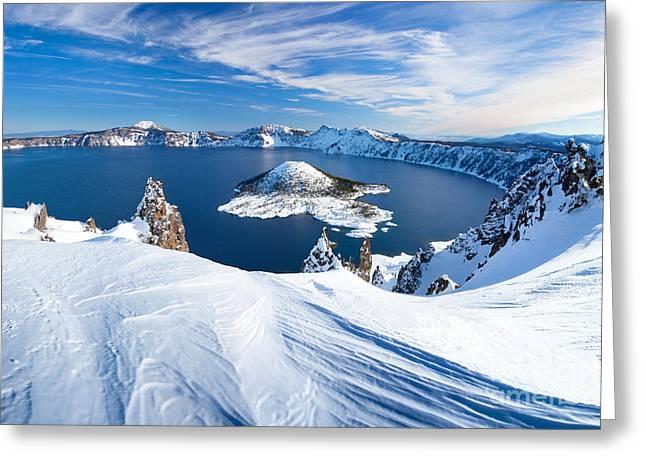 Winter Scene At Crater Lake Volcano Greeting Card