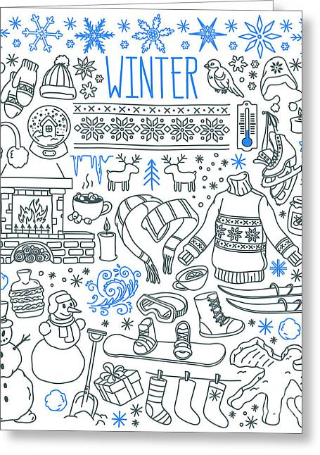 Winter Season Themed Doodle Set - Greeting Card