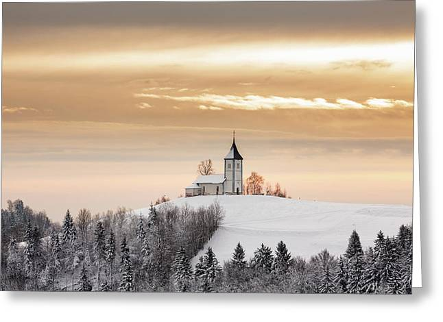 Winter Sunrise At Jamnik Church Of Saints Primus And Felician Greeting Card