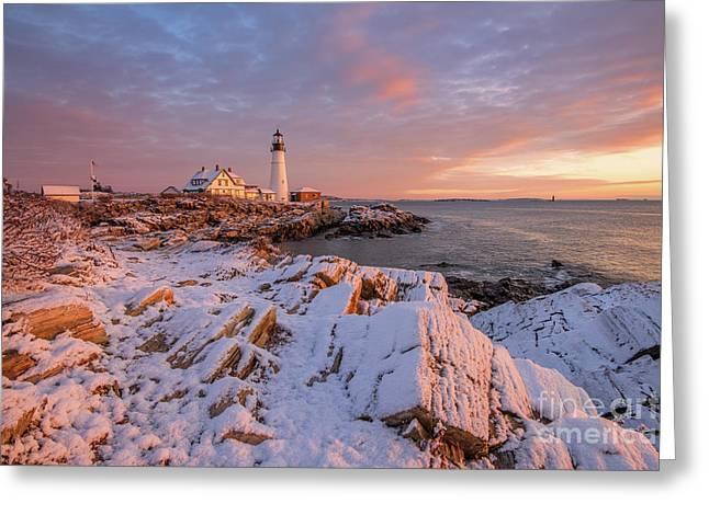 Winter Sunrise At Portland Head Light Greeting Card