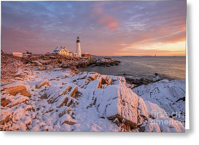 Winter Sunrise At Portland Head Light Greeting Card
