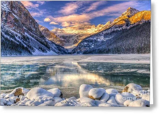 Winter Sunrise Over Scenic Lake Louse Greeting Card