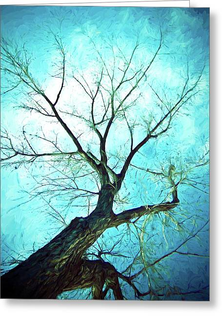 Greeting Card featuring the photograph Winter Tree Blue  by James BO Insogna