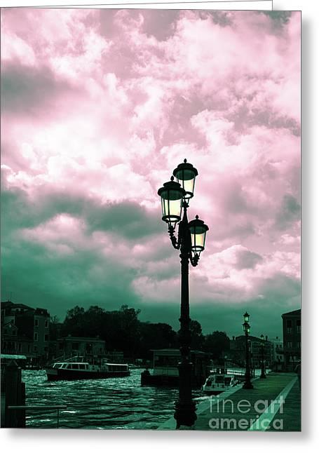 Winter Venice Lantern On The Embankment Greeting Card
