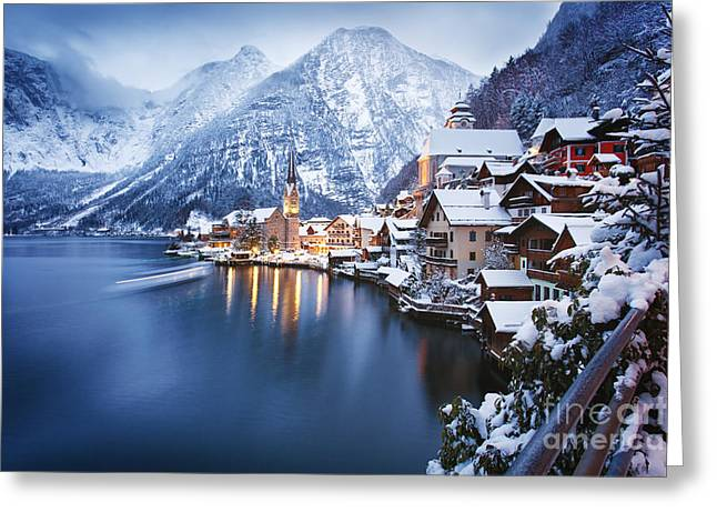 Winter View Of Hallstatt, Traditional Greeting Card