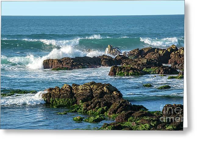 Winter Waves Hit Ancient Rocks No. 1 Greeting Card
