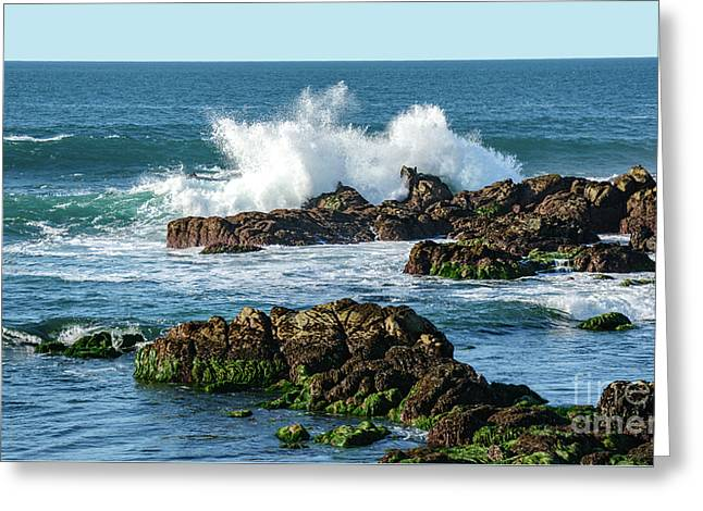Winter Waves Hit Ancient Rocks No. 2 Greeting Card