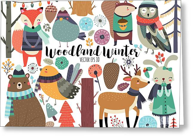 Winter Woodland Animals Cute Forest Greeting Card
