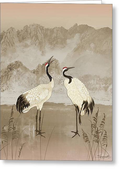 Wintering Manchurian Cranes Greeting Card