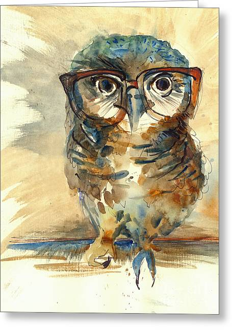 Wise Owl With Big Eyes In Hipster Greeting Card