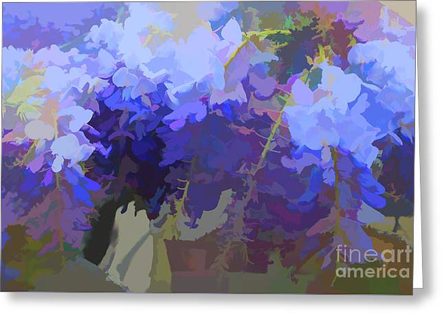 Greeting Card featuring the digital art Wisteria Colours by Fran Woods