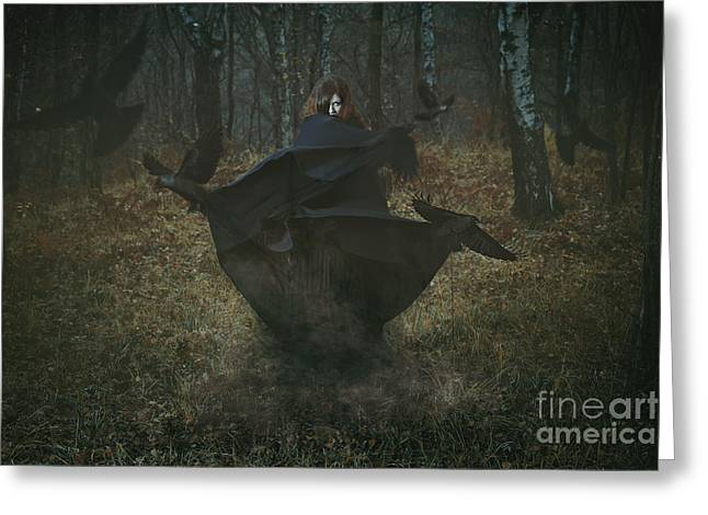 Witch Of The Forest With Her Crows Greeting Card