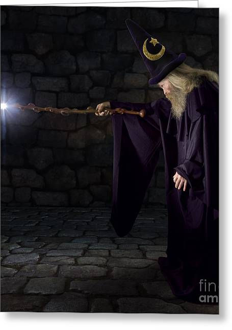 Wizard In A Purple Robe And Wizard Hat Greeting Card