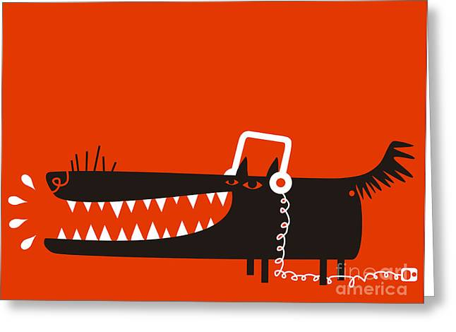 Wolf With Headphones Listens To Music Greeting Card
