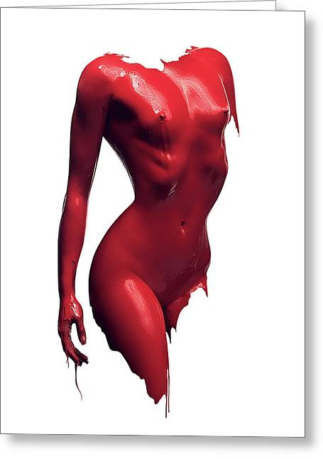 Woman Body Red Paint Greeting Card