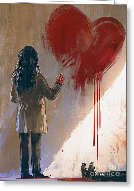 Woman Drawing Red Heart With Blood On Greeting Card