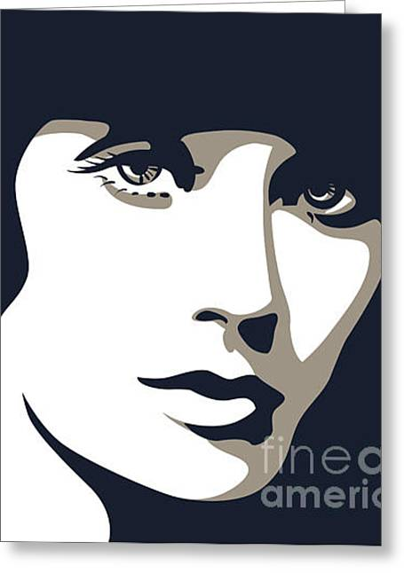 Woman Face With Beautiful Eyes, Vector Greeting Card