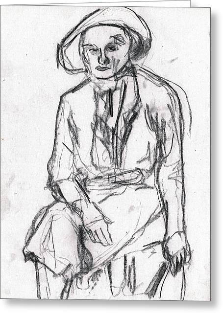 Woman In A Hat Drawing Greeting Card